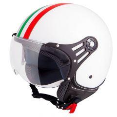 Vinz Trafori wit Italy jethelm fashionhelm Vespa helm scooterhelm motorhelm vooraanzicht