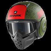 Shark Drak Jethelm - Tribute RM / Mat Groen / Zwart / Rood_1