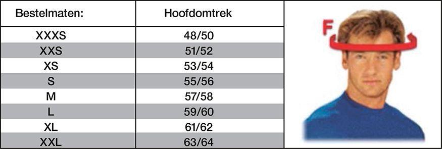 Helm maat berekenen maat tabel
